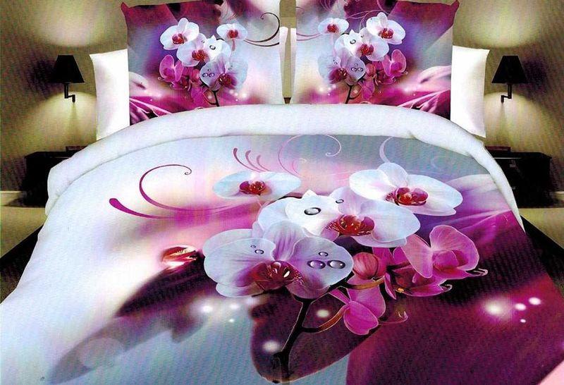 Комплект белья МарТекс Милая орхидея, 1,5-спальный, наволочки 70х70. 01-1276-101-1276-1