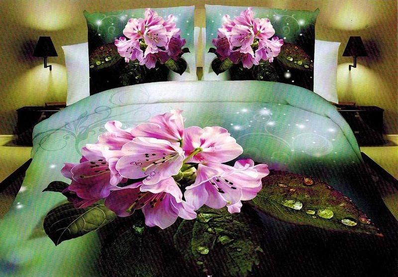 Комплект белья МарТекс Гортензия, 2-спальный, наволочки 70х70. 01-1277-201-1277-2