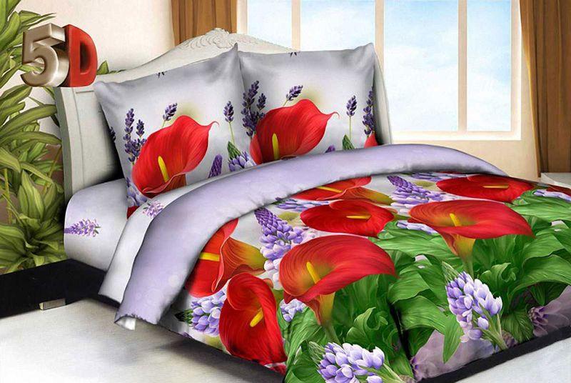 Комплект белья МарТекс Красные каллы, 2-спальный, наволочки 70х70. 01-1536-201-1536-2