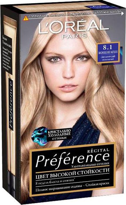 LOreal Paris Стойкая краска для волос Preference, оттенок 8.1, КопенгагенA8454201Краска для волос Лореаль Париж Преферанс - премиальное качество окрашивания! Она создана ведущими экспертами лабораторий Лореаль Париж в сотрудничестве с профессиональным колористом Кристофом Робином. В результате исследований был разработан уникальный состав краски, основанный на более объемных красящих пигментах. Стойкая краска способна дольше удерживаться в структуре волос, создавая неповторимый яркий цвет, устойчивый к вымыванию и возникновению тусклости. Комплекс Экстраблеск добавит блеска насыщенному цвету волос. Красивые шелковые волосы с насыщенным цветом на протяжении 8 недель после окрашивания! В состав упаковки входит: флакон гель-краски (60 мл), флакон-аппликатор с проявляющим кремом (60 мл), бальзам Усилитель цвета (54 мл), инструкция, пара перчаток.