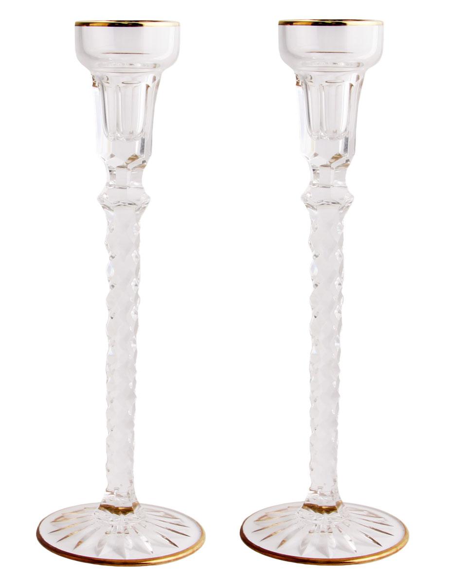 Подсвечники парные Гатчина. Хрусталь, гранение, золочение, House of Faberge. Конец XX века