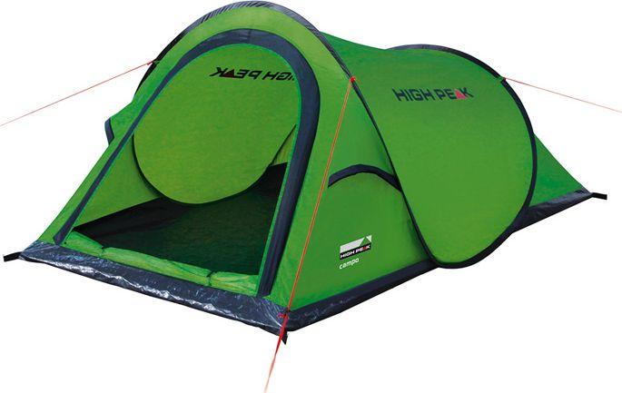 Палатка High Peak Campo, цвет: зеленый, 220 х 120 х 90 см. 1010610106Однослойная туристическая палатка с системой быстрой установки. Эта система позволяет установить палатку в считанные секунды. Палатка имеет четыре оттяжки, что достаточно для фиксации даже в ветреную погоду. Несколько вентиляционных окон позволяют хорошо проветривать палатку даже при закрытом входе. Длина 220 см, ширина 120 см и высота 90 см позволяют комфортно разместиться внутри двум туристам. На входе окно с москитной сеткой. Швы проклеены. Дуги: Фибергласс 5 мм Тент: Полиэстер 190Т 1500 мм, швы проклеены Дно: Армированный полиэтилен (3000 мм)