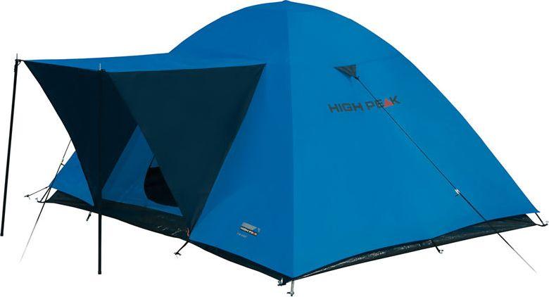 Палатка High Peak Texel 4, цвет: синий, серый, 220 х 240 х 130 см. 1017910179Просторная двухслойная палатка Texel 4 High Peak с тентом-козырьком над входом, устанавливаемым на стальные стойки. Внутренняя палатка площадью 5 кв. м позволит с комфортом разместиться вчетвером. Палатка устанавливается достаточно быстро. Сначала устанавливается внутренняя палатка из паропроницаемого материала. Если погода жаркая, и дождя не предвидится, то можно спать без внешнего тента. Если надо защититься от ветра и дождя, накидываете внешний тент. Материал тента имеет полиуретановое покрытие и водонепроницаемость не менее 1500 мм водяного столба. Швы проклеены. Палатка имеет 3 оттяжки, что позволяет надежно ее фиксировать во время ветреной погоды. Вход в палатку защищает тканевый полог, а если погода жаркая, то можно оставить закрытой только москитную сетку на входе. Рекомендуем использовать эту палатку в летнее время для походов выходного дня. Дуги: Фибергласс 8.5 мм/Сталь 16 мм Тент: Полиэстер 1500 мм, швы проклеены Дно: Армированный полиэтилен (3000 мм)