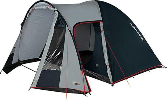 Палатка High Peak Tessin 5, цвет: светло-серый, темно-серый, 380 х 300 х 190 см. 1022610226Палатка Tessin 5 High Peak - хит продаж в сегменте палаток для кемпинга. Просторная спальня площадью 5,2 кв. м позволяет комфортно разместить четверых отдыхающих или семью из двоих взрослых и троих детей. В большом тамбуре можно сделать кухню со столиком и несколькими стульями. В тамбур ведут торцевой и боковой вход. В торце тамбура два больших окна. По периметру тамбура пришита юбка для защиты от ветра, дождя и комаров. При полностью закрытых пологах входов проветривание палатки осуществляется с помощью трех вентиляционных окон. Два окна расположены со стороны тамбура и одно со стороны спальни. Ветроустойчивость палатки осуществляется при помощи фиксации семи оттяжек. Материал тента имеет полиуретановое покрытие и водонепроницаемость не менее 3000 мм водяного столба. Это позволяет защититься от сильного ветра и дождя. Все швы проклеены термоусадочной лентой, гарантирующей, что влага не проникнет сквозь них. Дно палатки сделано из прочного армированного полиэтилена. В комплекте идет...