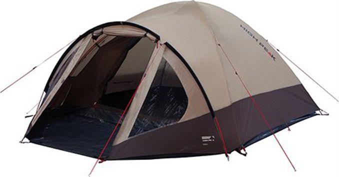 Палатка High Peak Talos 4, цвет: коричневый, 320 х 240 х 130 см. 1145911459Большая комфортная палатка Talos 4 отлично подойдет для походов с апреля по сентябрь. Её можно использовать как для трекинга, так и для семейных выездов. Палатка двухслойная, легко устанавливается за 5-7 минут. Сначала устанавливается внутренняя палатка из паропроницаемого материала. Если погода жаркая, и дождя не предвидится, то можно спать без внешнего тента. Вход во внутреннюю палатку можно закрыть тканевым пологом или москитной сеткой. Размер палатки по периметру составляет почти 5.3 кв. м и позволяет четверым отдыхающим с комфортом расположиться на ночлег. Если надо защититься от ветра и дождя, накиньте внешний тент и проденьте третью дугу в рукав тента для формирования тамбура. В тамбуре дно из армированного полиэтилена, на которое можно выложить вещи, не опасаясь их испачкать. Материал тента палатки имеет полиуретановое покрытие и водонепроницаемость не менее 4000 мм водяного столба. Это позволяет защититься от сильного ветра и дождя. Все швы проклеены термоусадочной лентой,...