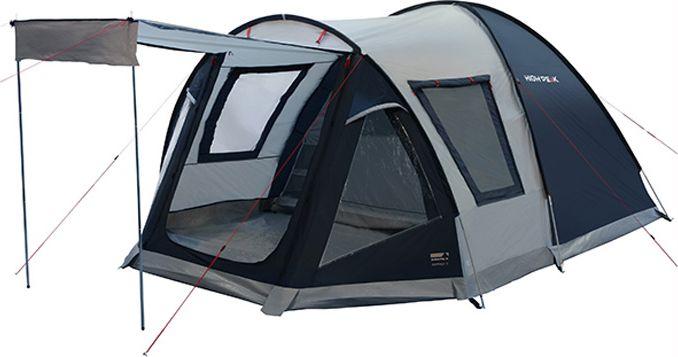 Палатка High Peak Santiago 5, цвет: светло-серый, темно-серый, 430 х 280 х 190/175 см. 1180011800Отличная просторная палатка для семейного кемпинга и летних поездок в отпуск. Конструкция палатки с внешними дугами позволяет использовать ее как огромный купол для столовой или кухни. Вечером вы за несколько минут подвешиваете внутреннюю спальню и с комфортом располагаетесь на ночлег. Размер спальни по периметру почти 6 кв. м, этого хватит на семью из пяти человек для комфортной ночевки. Высота внутренней палатки и тамбура позволяет стоять взрослому в полный рост. Пол из армированного полиэтилена закреплен как в спальне, так и в тамбуре. Он защитит вещи от песка и травы. В тамбуре можно установить столик и несколько стульев. В жаркую погоду можно сделать козырек над входом в палатку из тканевого полога, который обычно закрывает вход, при этом перекрыть отверстие входа москитной сеткой. Также для улучшения вентиляции можно открыть большое боковое окно, которое тоже оснащено москитной сеткой. В дождливую погоду, когда вход и боковое окно закрыты, сквозная вентиляция осуществляется при...