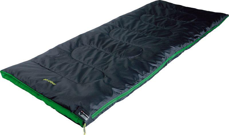 Спальный мешок-одеяло High Peak Patrol, цвет: антрацит, зеленый, 190 х 800 см, левосторонняя молния. 2004720047Летний спальник-одеяло для походов выходного дня или семейных выездов на пикник. В верхней части молния фиксируется клапаном на липучке Velcro. На молнии 2 бегунка, которые позволяют расстегнуть спальник со стороны ног и сделать вентиляционное окно. Спальники, имеющие левую и правую молнии, можно состегивать, чтобы получить большой спальник на двух человек. Спальник утеплен высокоэффективным полым волокном Hollowfiber с силиконовым покрытием волокон. Плотность утеплителя равна 200 грамм на кв. м. В комплекте со спальником идет транспортировочный чехол объемом 9,7 л. Внешняя ткань Полиэстер (Polyester) 185T Внутренняя ткань Полиэстер (Polyester) 185T Утеплитель Hollowfiber 200 (1х200) г/м2