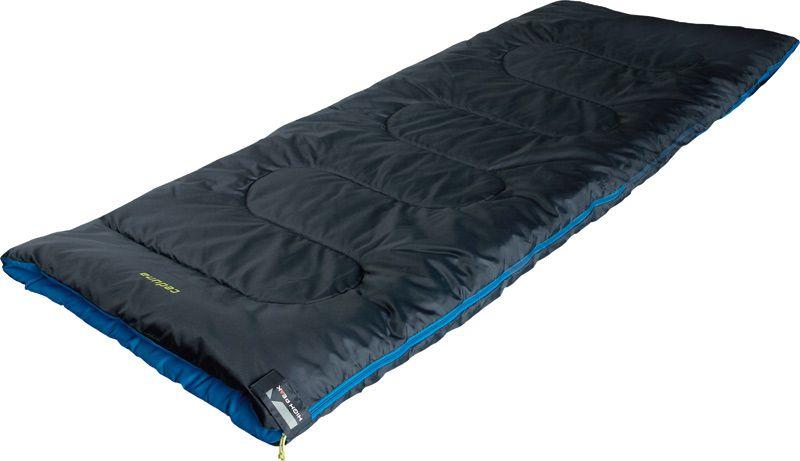 Спальный мешок-одеяло High Peak Ceduna, цвет: антрацит, синий, 200 х 80 см, левосторонняя молния. 2006220062Спальник-одеяло для летних путешествий. В верхней части молния фиксируется клапаном на липучке Velcro. На молнии 2 бегунка, которые позволяют расстегнуть спальник со стороны ног и сделать вентиляционное окно. Спальники, имеющие левую и правую молнии, можно состегивать, чтобы получить большой спальник на двух человек. В спальнике используется высокоэффективный утеплитель Hollowfiber, состоящий из полого полиэстерового волокна с силиконовым покрытием. Плотность утеплителя равна 300 грамм на кв. м. В комплекте со спальником идет транспортировочный чехол. Внешняя ткань Полиэстер (Polyester) 185T Внутренняя ткань Полиэстер (Polyester) 185T Утеплитель Hollowfiber300 (1х300) г/м2