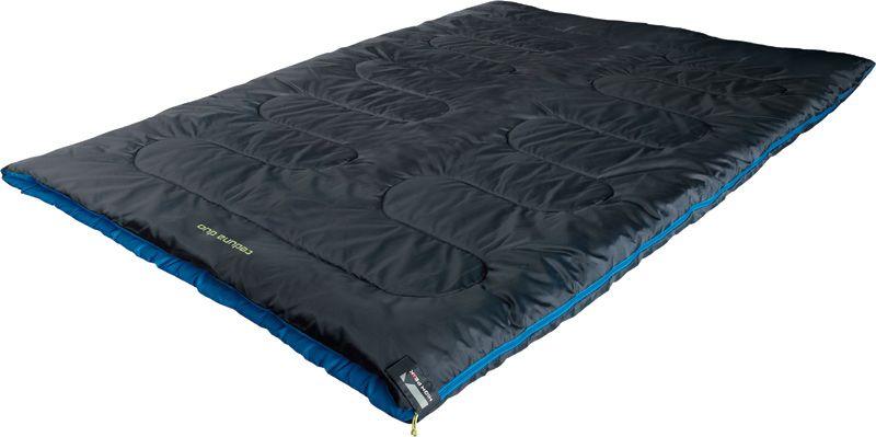 Спальный мешок-одеяло High Peak Ceduna Duo, цвет: антрацит, синий, 200 х 150 см, левосторонняя молния. 2006320063Двойной спальник-одеяло для семейного кемпингового отдыха. Позволяет разместиться паре или маме с ребенком. Внутренняя ткань спальника очень мягкая и шелковистая. В верхней части молния фиксируется клапаном на липучке Velcro. На молнии 2 бегунка, которые позволяют расстегнуть спальник со стороны ног и сделать вентиляционное окно. В спальнике используется высокоэффективный утеплитель Hollowfiber, состоящий из полого полиэстерового волокна с силиконовым покрытием. Плотность утеплителя равна 300 грамм на кв. м. В комплекте со спальником идет транспортировочный чехол. Внешняя ткань Полиэстер (Polyester) 185T Внутренняя ткань Шелковистый полиэстер (SilkPolyester) 190T Утеплитель Hollowfiber 300 (1х300) г/м2