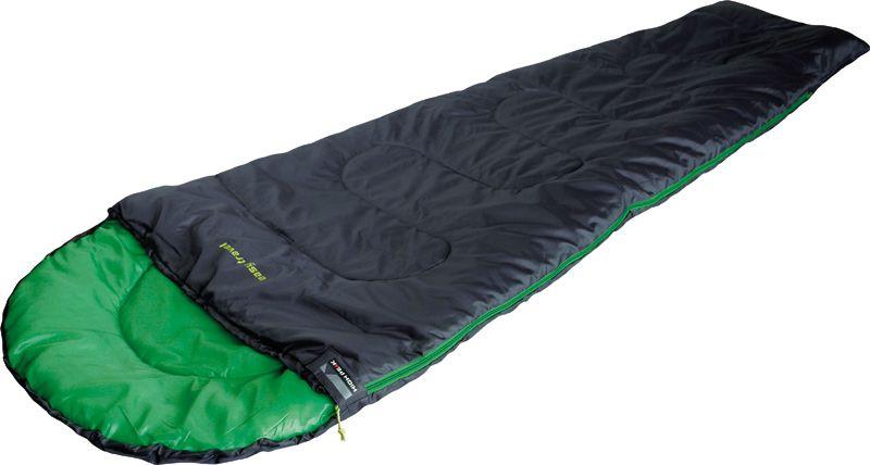 Спальный мешок High Peak Easy Travel, цвет: антрацит, зеленый, 220 х 75 х 50 см, левосторонняя молния. 2006920069Легкий и компактный спальник для летних походов. В случае прохладной ночи можно затянуть стропу на подголовнике и закрыть голову. Спальники, имеющие левую и правую молнии, можно состегивать, чтобы получить большой двойной спальник. В верхней части молния фиксируется клапаном на липучке Velcro. На молнии два бегунка, которые позволяют расстегнуть спальник со стороны ног и сделать вентиляционное окно. Спальник утеплен высокоэффективным полым волокном DuraLoft с силиконовым покрытием волокон. Плотность утеплителя равна 150 грамм на кв. метр с обеих сторон спальника. В комплекте со спальником идет транспортировочный чехол. Объем чехла 6,8 л. Внешняя ткань Полиэстер (Polyester) 185T Внутренняя ткань Полиэстер (Polyester) 185T Утеплитель DuraLoft 150 (1х150) г/м2