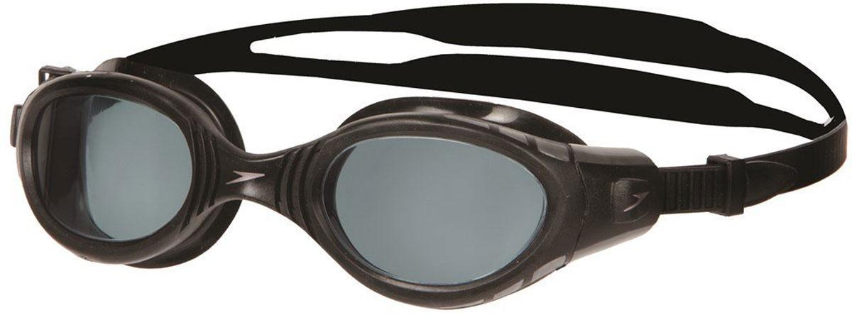 Очки для плавания Speedo Futura BioFUSE, цвет: черный, серый8-012327649Плавательные очки Speedo Futura BioFUSE. Усовершенствованная модель популярных Futura. Уплотнитель BioFuse плотно прилегает, делая очки практически неощутимыми и не оставляет следов вокруг глаз. Линзы с покрытием Ultra Antifog не запотевают, не пропускают ультрафиолетовые лучи и имеют расширенный угол обзора. Система SpeedoFit для быстрой и простой подстройки. В комплект входит мешочек для очков. Линзы: поликарбонат. Оправа: полипропилен. Уплотнитель синтетическая резина TPR. Ремешок: силикон.