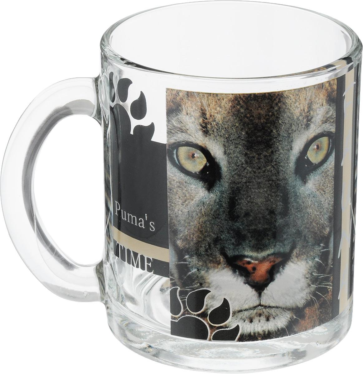Кружка OSZ Дикие кошки. Пума, 320 мл04C1208-DKK_пумаКружка OSZ Дикие кошки. Пума изготовлена из стекла и декорирована принтом. Диаметр (по верхнему краю): 7,5 см. Высота: 9,5 см. Объем: 320 мл.