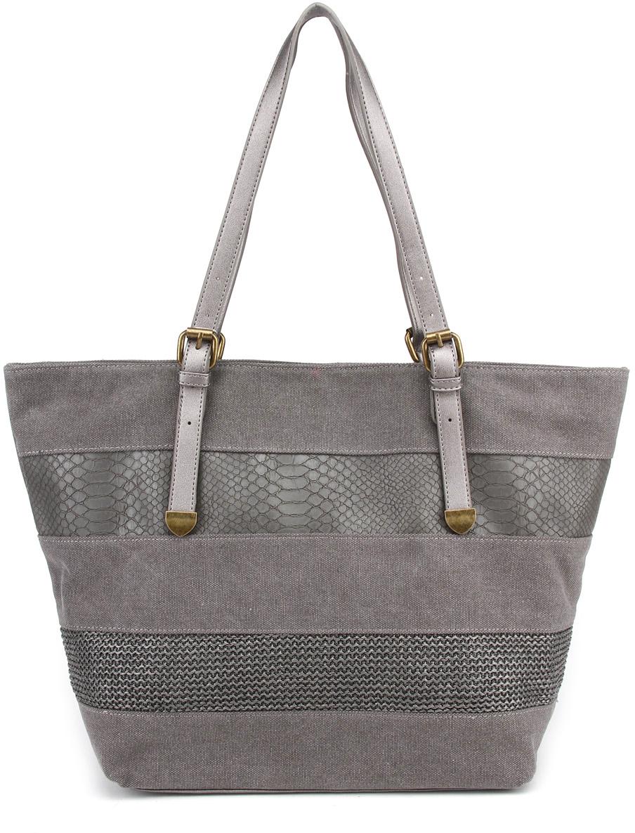 Сумка пляжная женская David Jones, цвет: серый. 7334573345 BLACK/GREYОригинальная пляжная сумка-трансформер David Jones изготовлена из комбинированного материала: ткани и экокожи. Конструкция сумки позволяет носить ее как классическую сумку лодочку и как сумку торбу. Внутри одно общее вместительное отделение. На одной из стенок, карман на молнии для кошелька или ценных предметов, на другой открытые кармашки для мелочей. Сумка оснащена длинными ручками, позволяющими носить ее на плече.