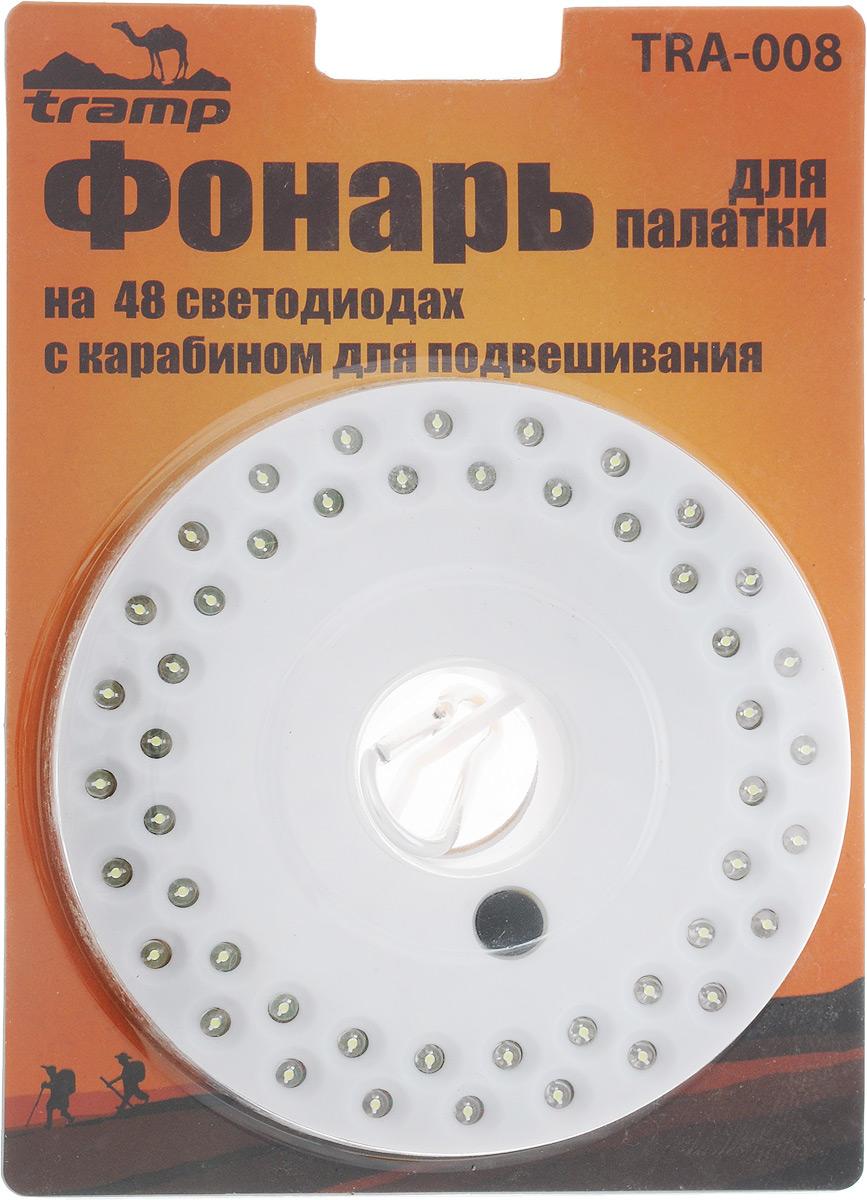 Фонарь для палатки Tramp, цвет: белыйTRА-008Фонарь Tramp применяется для освещения палатки в походах или на рыбалке. Работает от трех пальчиковых батареек типа АА. Фонарь оснащен карабином для подвешивания и имеет 3 режима работы. Кнопка включения расположена таким образом, что не позволит случайно включить фонарик. Количество диодов: 48. Диаметр корпуса: 13,5 см.