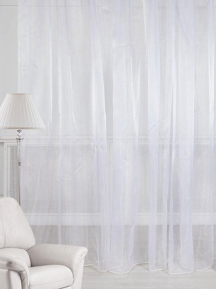 Тюль ТД Текстиль, на ленте, цвет: белый, высота 270 см84328Тюль однотонный, выполнен из вуали.