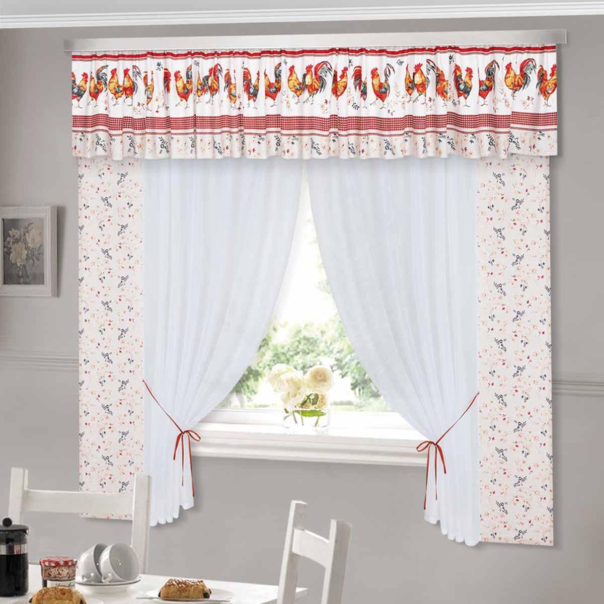Комплект штор ТД Текстиль Золотой петушок, на ленте, цвет: белый, бежевый, красный, высота 180 см89505Шторы с набивным рисунком.