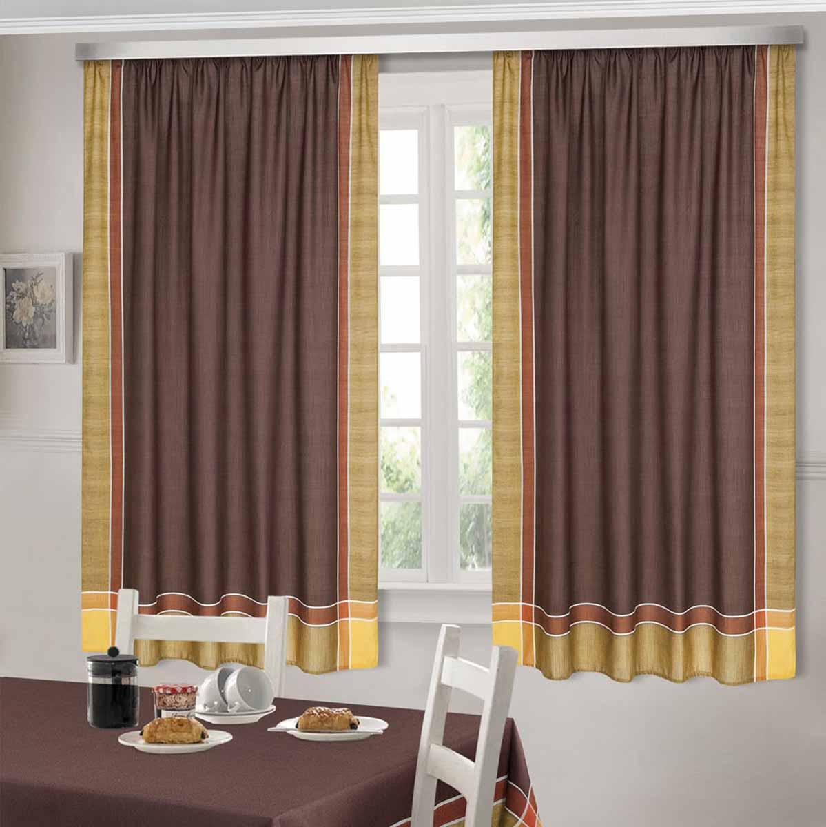 Комплект штор ТД Текстиль Шик, на ленте, цвет: венге, высота 180 см92306Шторы выполнены из искусственной ткани под лен. Цвета в ассортименте. В наличии присутствуют скатерти из этой же ткани в двух размерах.