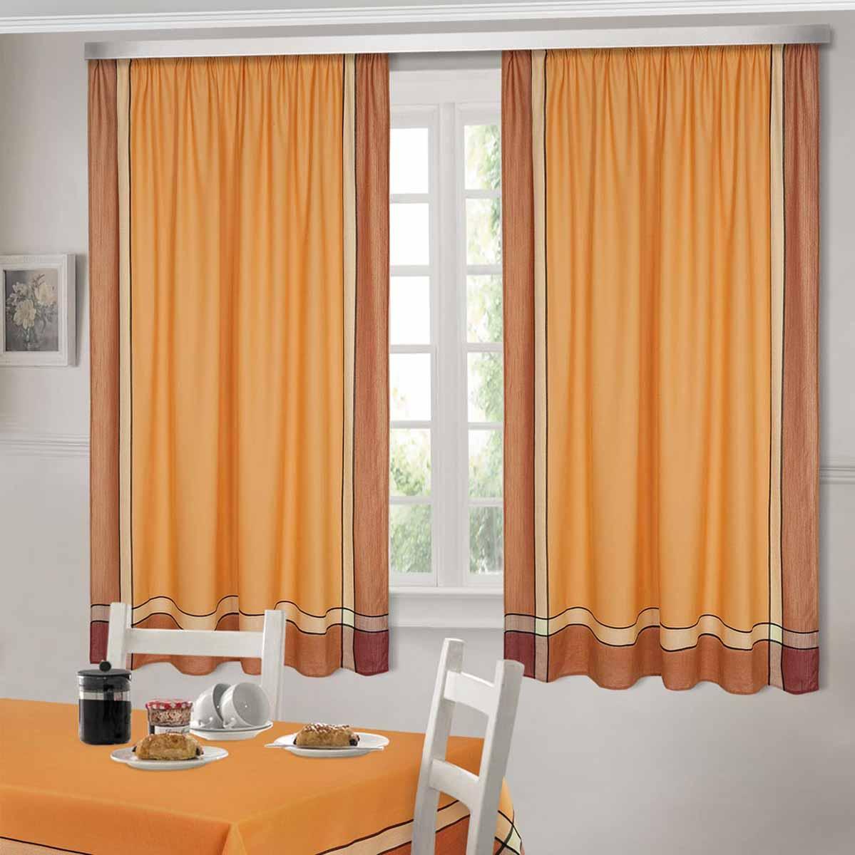 Комплект штор ТД Текстиль Шик, на ленте, цвет: оранжевый, высота 180 см92307Шторы выполнены из искусственной ткани под лен. Цвета в ассортименте. В наличии присутствуют скатерти из этой же ткани в двух размерах.