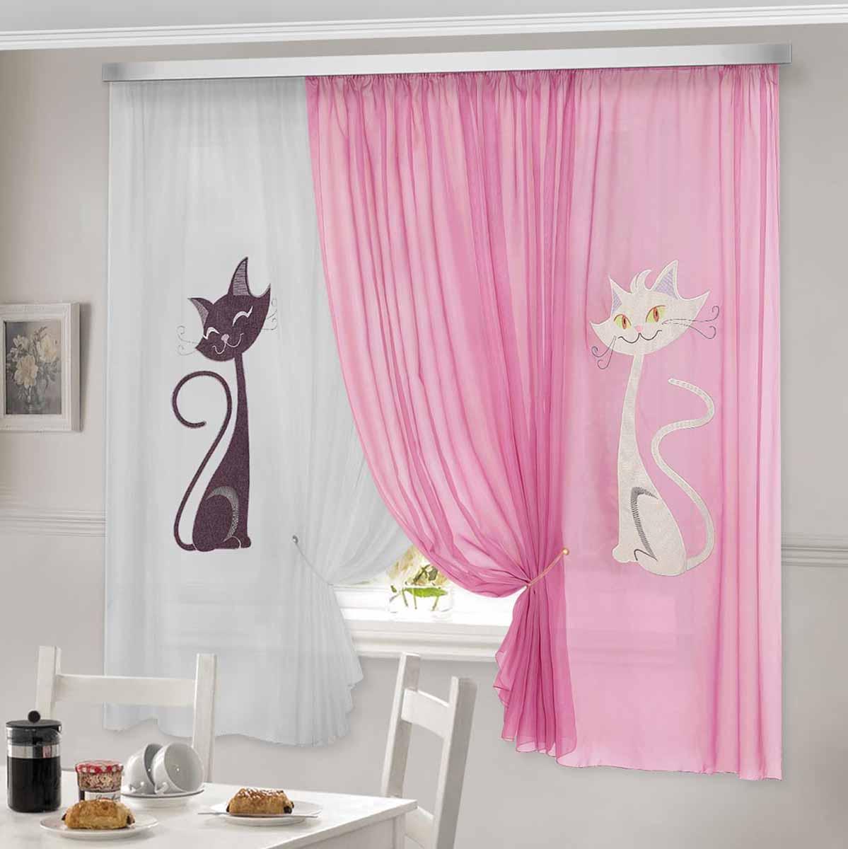 Комплект штор ТД Текстиль Кэти, на ленте, цвет: розовый, белый, высота 180 см92332Шторы выполнены из вуалевого полотна с аппликацией в виде кошек. Стирать аккуратно, не более 30-40 градусов. Цвета в ассортименте.