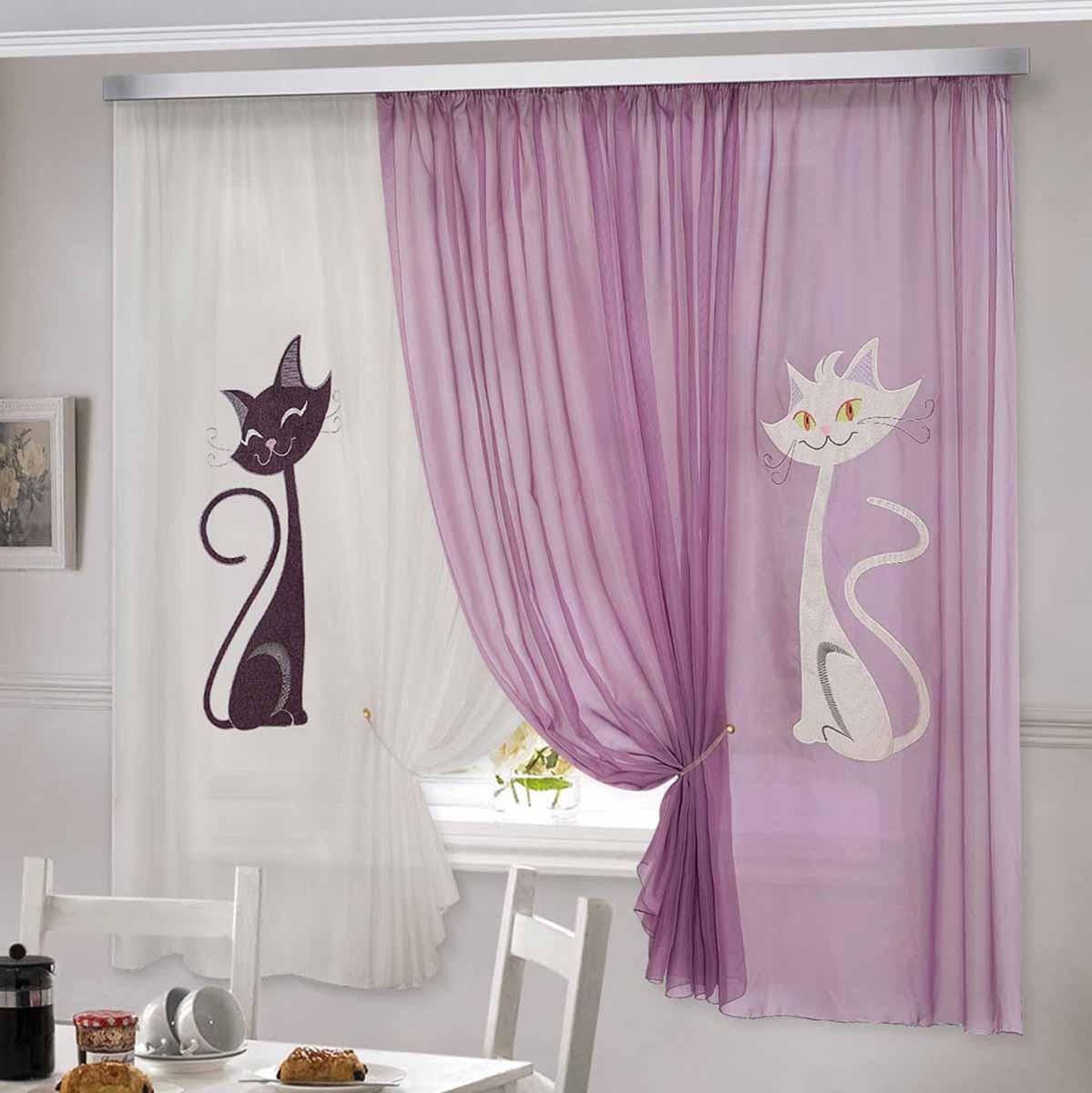 Комплект штор ТД Текстиль Кэти, на ленте, цвет: сиреневый, белый, высота 180 см92333Шторы выполнены из вуалевого полотна с аппликацией в виде кошек. Стирать аккуратно, не более 30-40 градусов. Цвета в ассортименте.