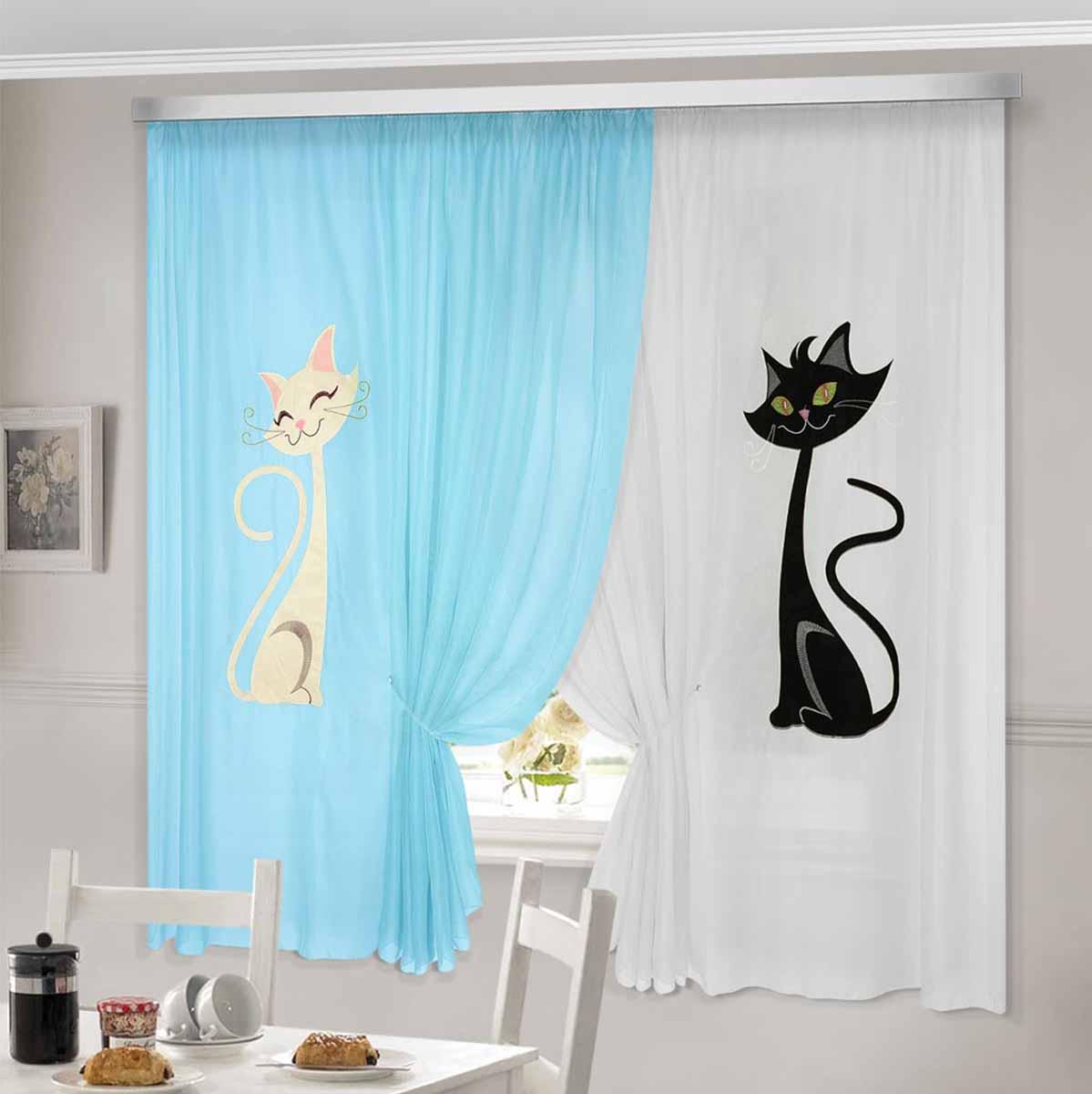 Комплект штор ТД Текстиль Кэти, на ленте, цвет: голубой, белый, высота 180 см92335Шторы выполнены из вуалевого полотна с аппликацией в виде кошек. Стирать аккуратно, не более 30-40 градусов. Цвета в ассортименте.