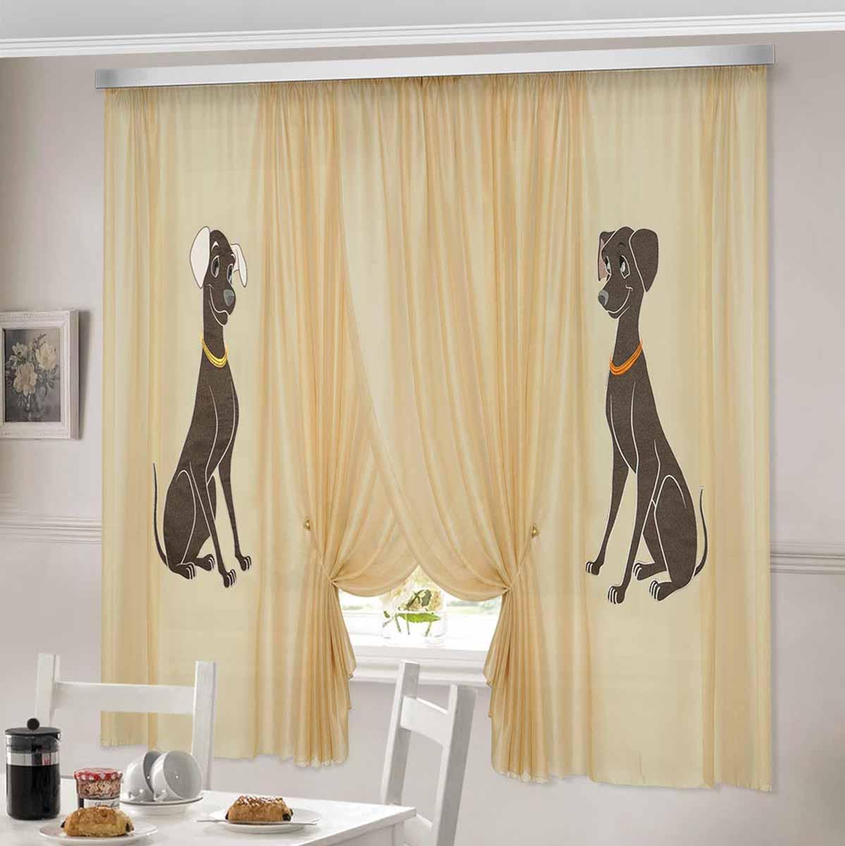 Комплект штор ТД Текстиль Аристократ, на ленте, цвет: бежевый, высота 180 см93130Шторы выполнены из вуалевого полотна с аппликацией в виде собак. Стирать аккуратно, не более 30-40 градусов. Цвета в ассортименте.