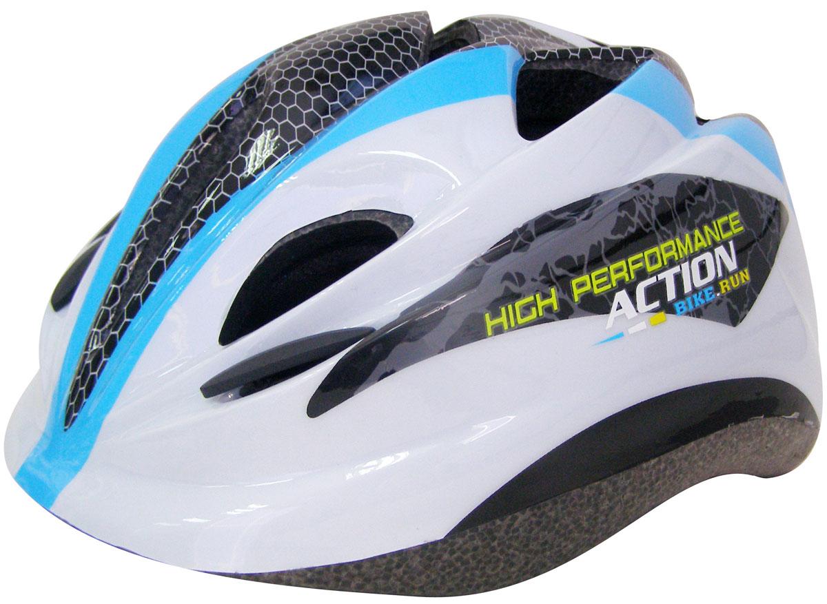 Шлем защитный Action PWH-270. Размер XSPWH-270Основные характеристики Размер: XS (48-51) Материалы: внутренний - пенополистирол, внешний - поливинилхлорид Имеются отверстия для вентиляции головы Цвет: белый/черный/голубой Вид использования: любительское катание на роликовых коньках/велосипеде Страна-производитель: Китай Упаковка: сумка-сетка с европодвесом Предназначен для защиты головы во время катания на роликовых коньках и велосипеде. Преимущества шлема PWH-270: небольшой вес; наличие крепежных ремешков; наличие отверстий для вентиляции головы; удобная анатомическая форма и отстуствие дополнительных элементов, препятствующих обзору роллера.