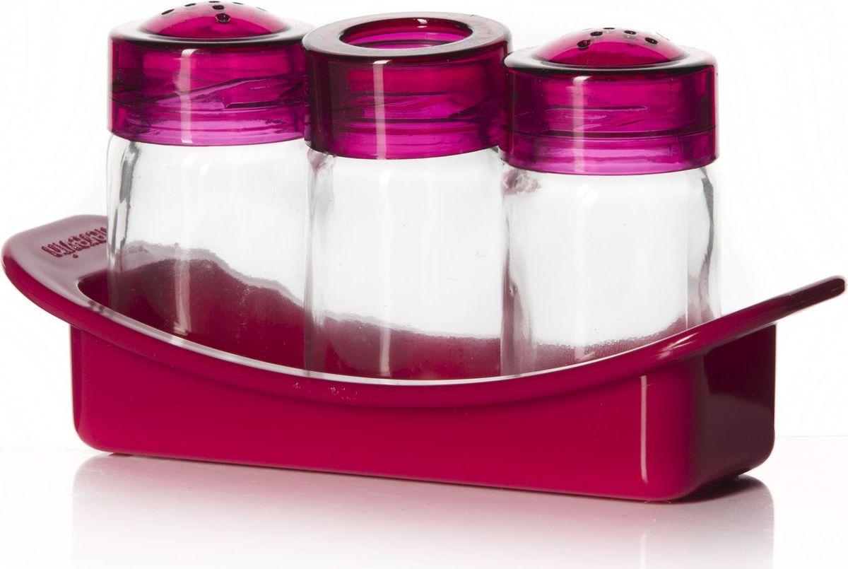 Набор для специй Pasabahce, 3 предмета. 122060-108122060-108Набор для специй с подставкой 3 предмета, солонка + перечница + емкость для зубочисток, розового цвета