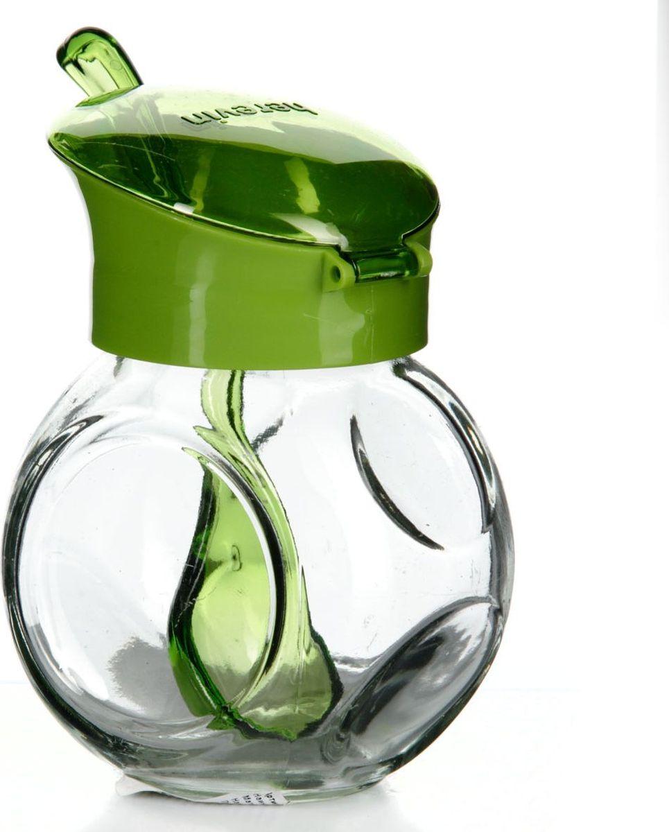 Емкость для специй Pasabahce, с ложкой, 225 мл. 131004-000131004-000Емкость для специй прозрачная с зеленой крышкой и ложкой, V=225 мл, 65*85*120 мм
