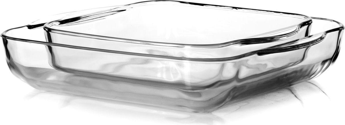 Набор посуды для СВЧ Pasabahce, 2 предмета. 159028159028Набор посуды для СВЧ 2 пр (2 квадр. лотка б/крышек 280*280мм и 220*220мм) 3л + 1,6 л