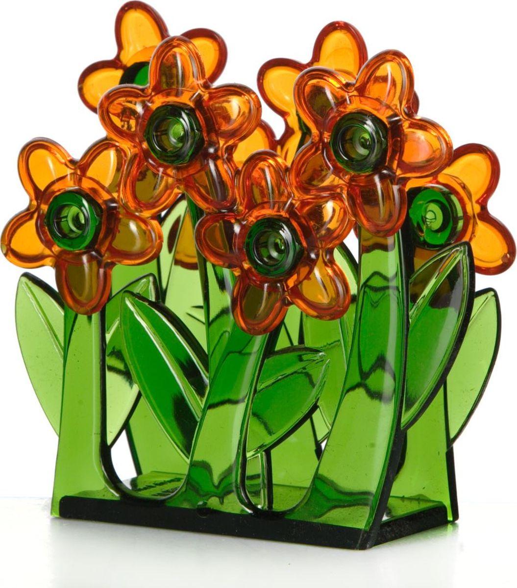 Салфетница Pasabahce. 161210-000161210-000Салфетница зелёного цвета с оранжевыми цветами, 65*140*122 мм