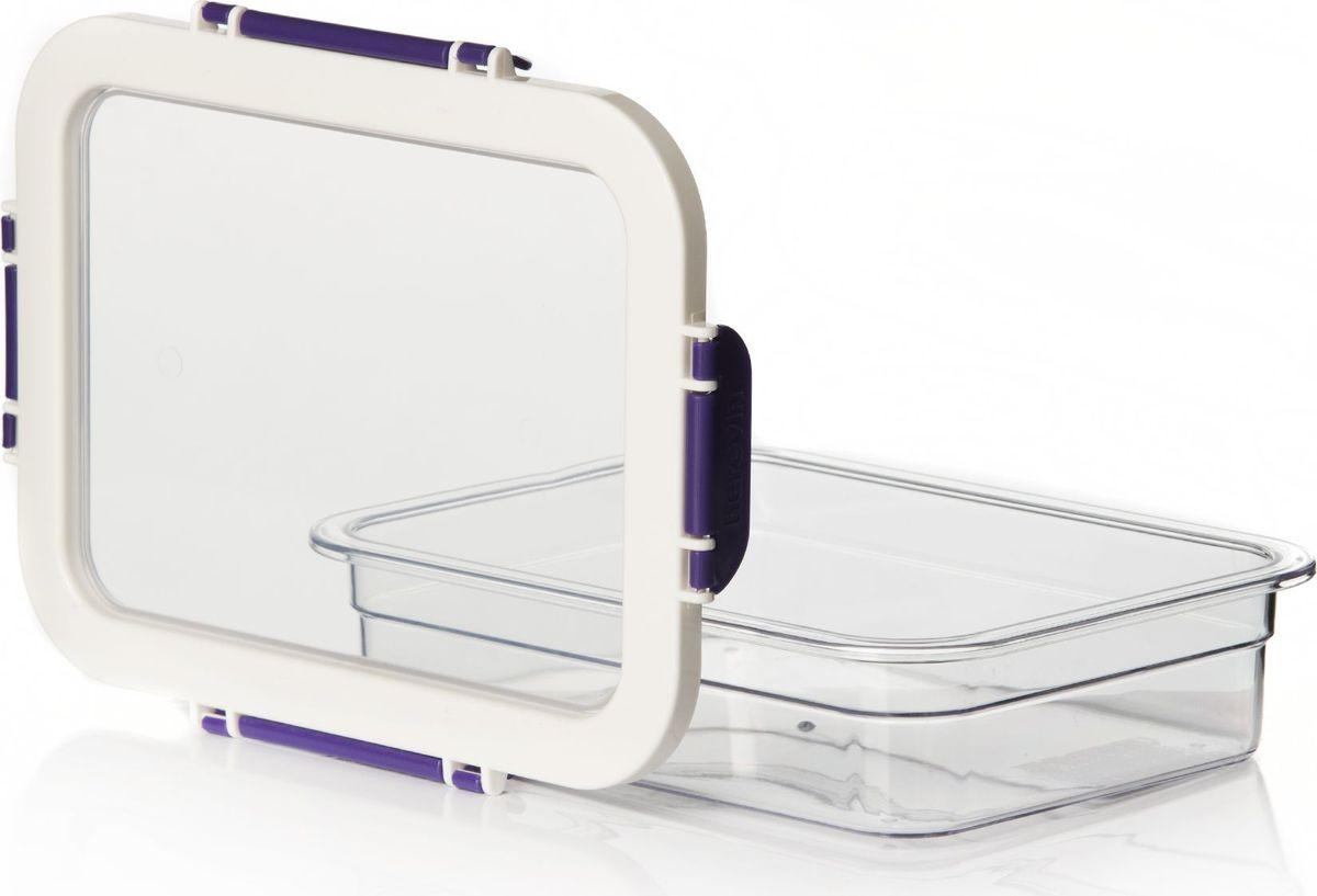 Контейнер для продуктов Pasabahce, цвет: фиолетовый, 1,3 л. 161421-003161421-003Контейнер пластмас. для хранения продуктов V=1,3 л с фиолетовыми защелк.ручками