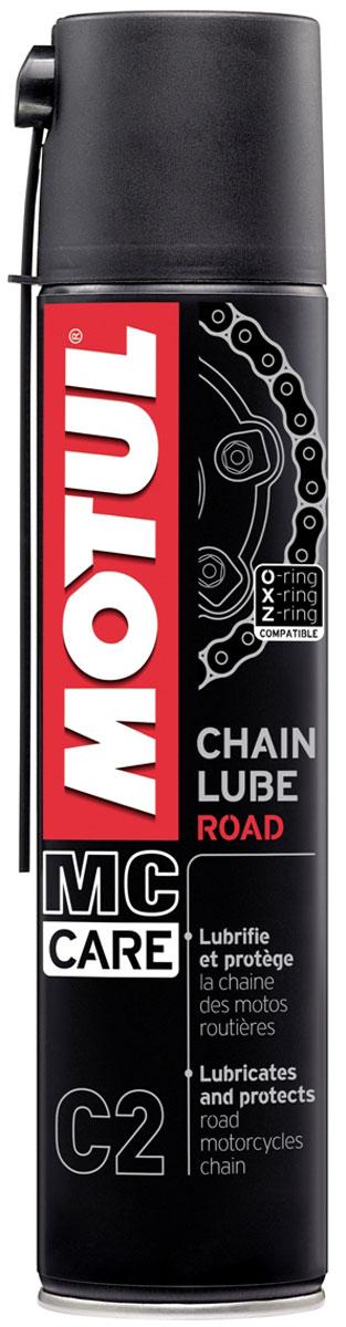 Смазка цепи Motul С2 Chain Lube Road, 400 мл102981Все типы цепей: для стандартных и кольцеобразных втулок O-Ring, X-Ring, Z-Ring. Дорожный мотоцикл и картинг. Специально рекомендован для скоростных мотоциклов: Motul Chain Lube Road остается на цепи даже на очень большой скорости.