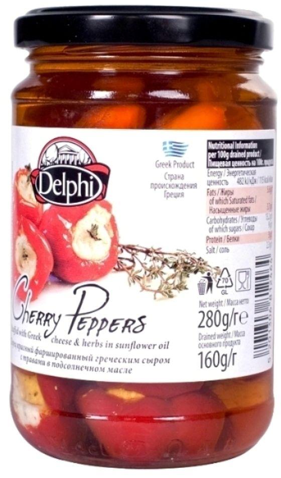 Delphi перец красный фаршированный греческим сыром с травами в подсолнечном масле, 280 г42.0008,1Перец, фаршированный греческим сыром 22,1% (сыр Фета, сыр Мизитра).