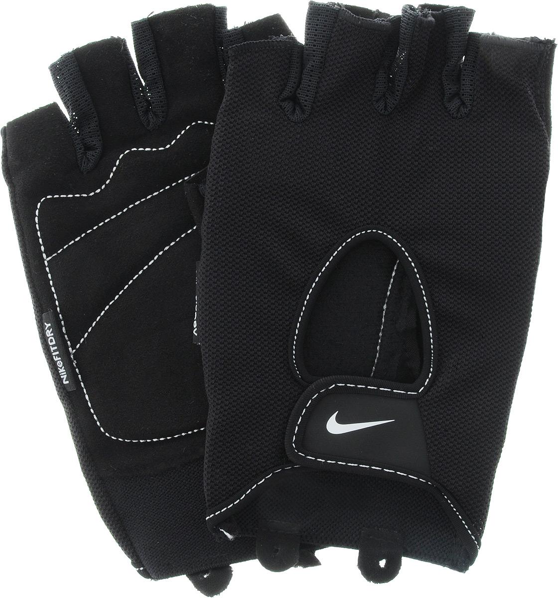 Перчатки для фитнеса женские Nike Wmn Fundamental Fitness Gloves, цвет: черный. Размер XS9.092.067.047._черный_XSПерчатки для фитнеса женские Nike Wmn Fundamental Fitness Gloves, цвет: черный. Размер XS