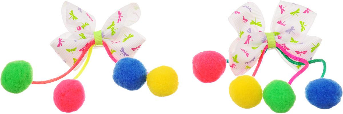 Baby's Joy Резинка для волос Помпоны малые цвет белый розовый салатовый 2 шт MN 202/2 MN 202/2_помпоны зеленые, синие, желтые, розовые,