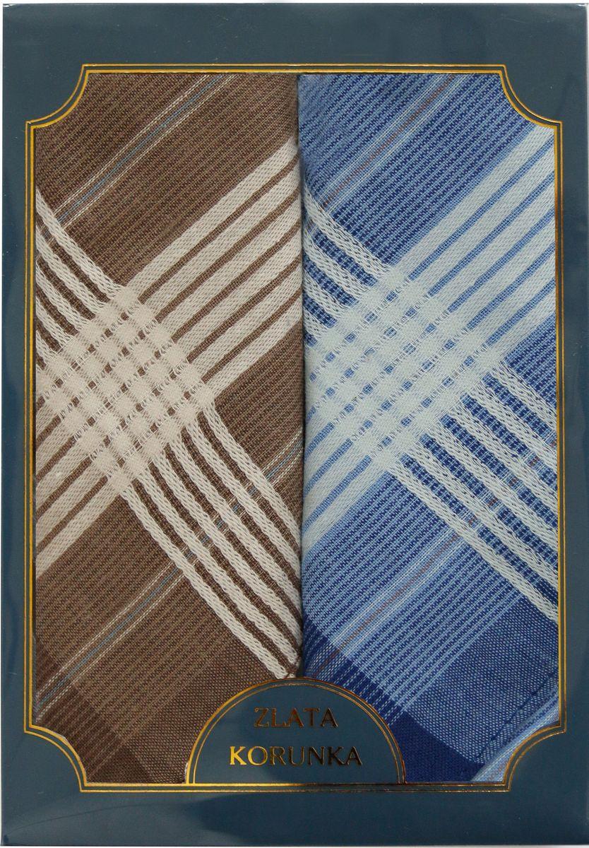 Платок носовой мужской Zlata Korunka, цвет: коричневый, голубой, 2 шт. 40214-10. Размер 43 см х 43 см40214-10Мужской носовой платой Zlata Korunka изготовлен из натурального хлопка, приятен в использовании, хорошо стирается, материал не садится и отлично впитывает влагу. Оформлена модель контрастным принтом.