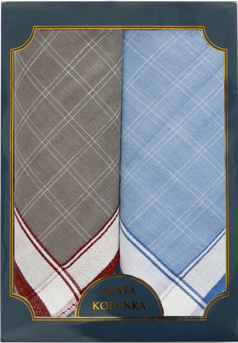 Платок носовой мужской Zlata Korunka, цвет: серый, 2 шт. 40214-12. Размер 43 см х 43 см40214-12