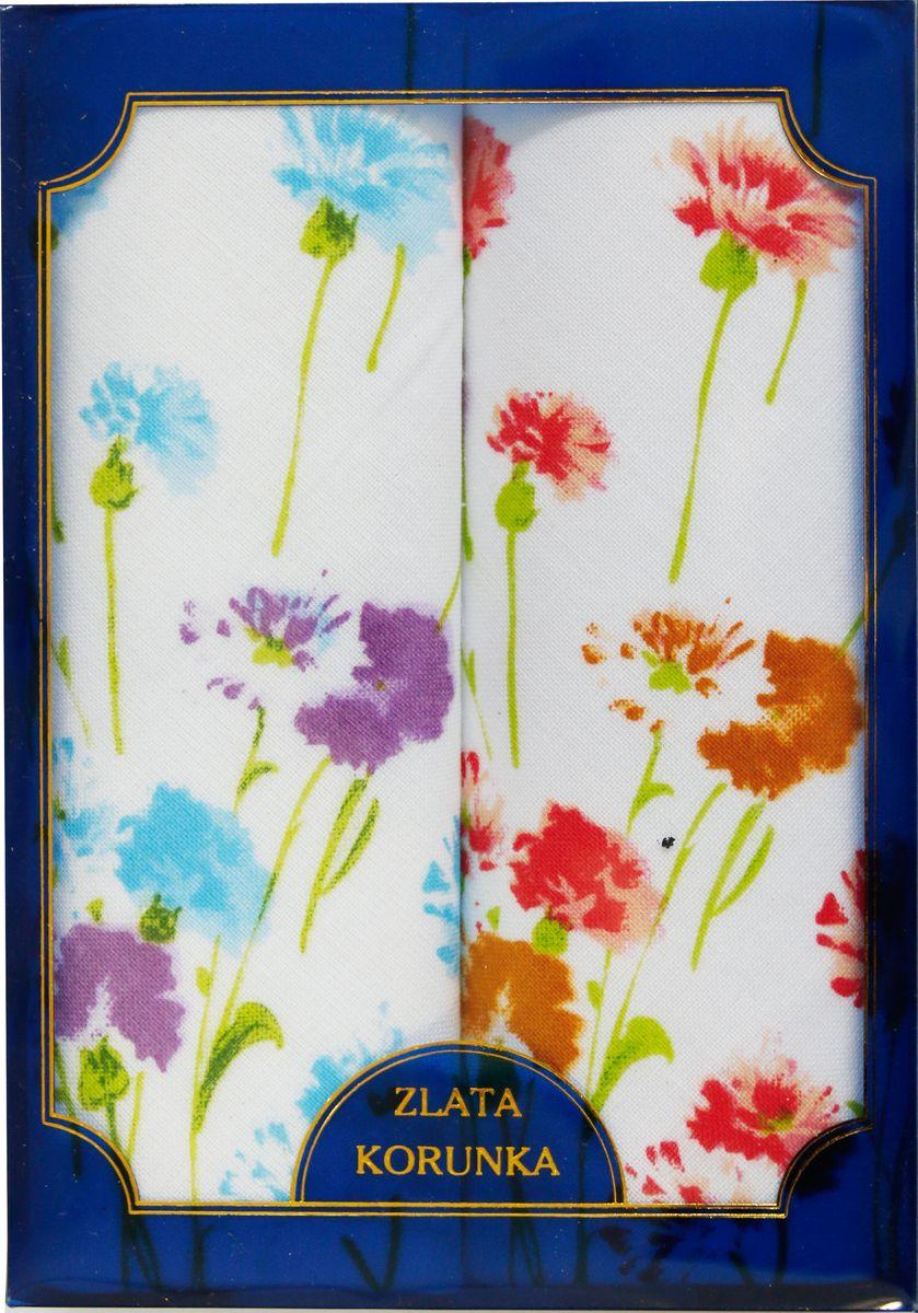 Платок носовой женский Zlata Korunka, цвет: голубой, 2 шт. 40221-2. Размер 43 см х 43 см40221-2