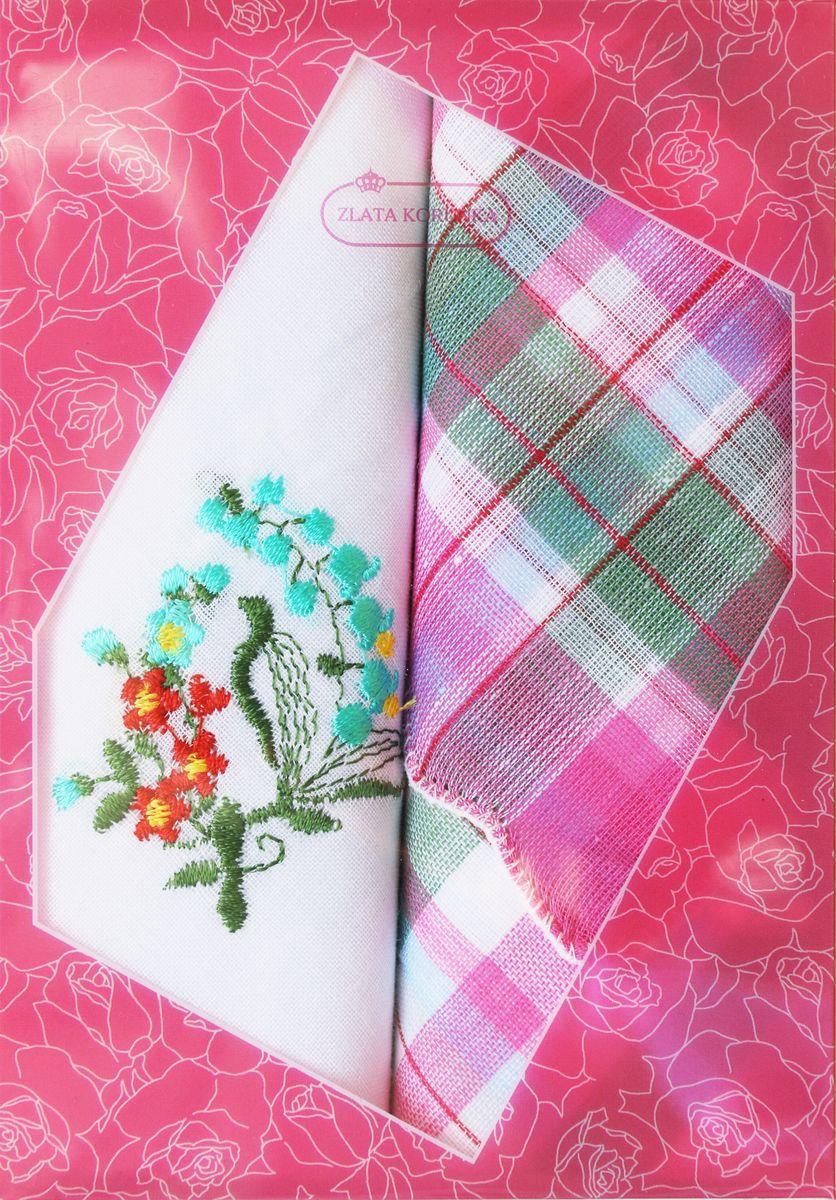 Платок носовой женский Zlata Korunka, цвет: мультиколор, 2 шт. 40222-11. Размер 29 см х 29 см40222-11