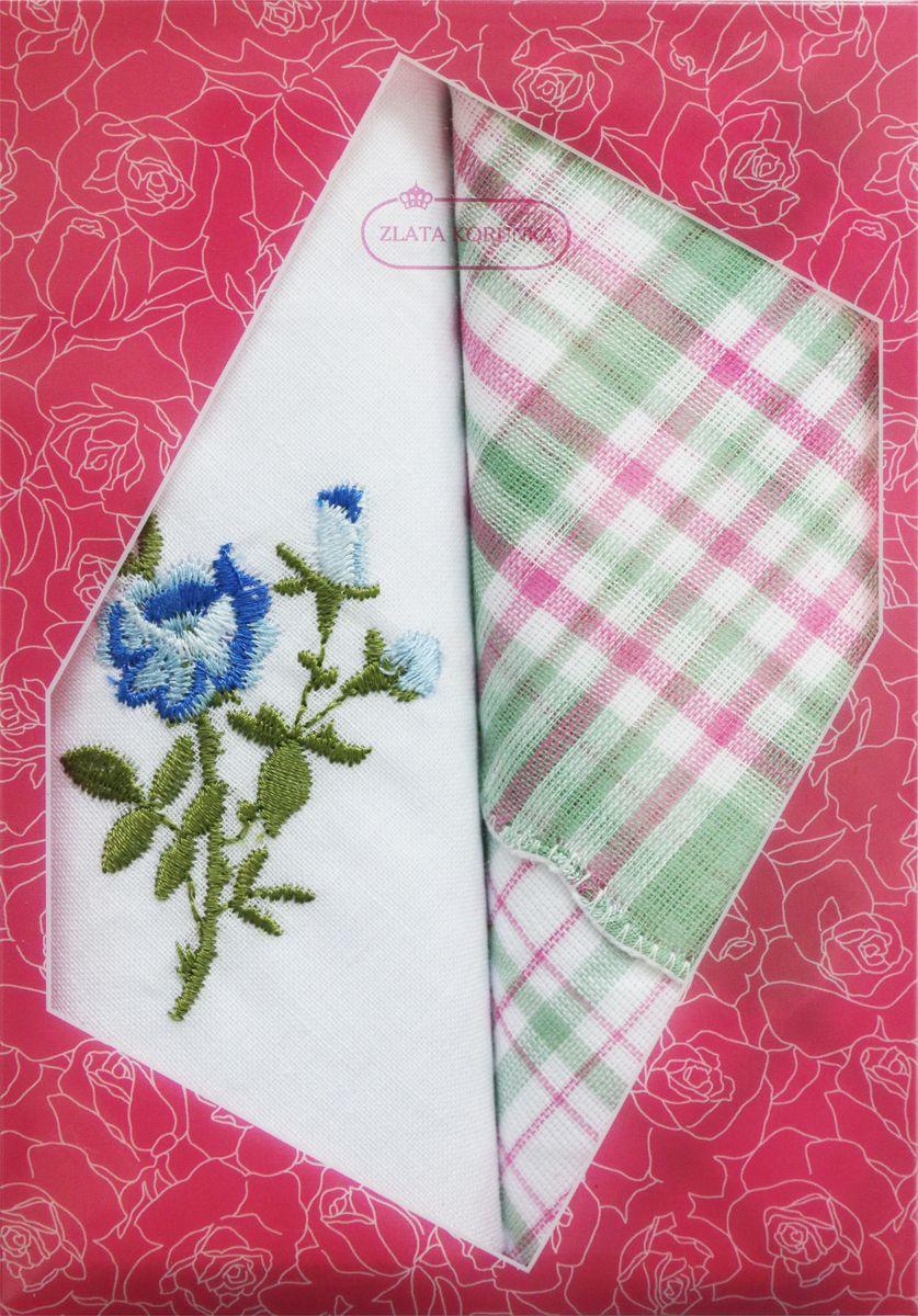 Платок носовой женский Zlata Korunka, цвет: мультиколор, 2 шт. 40222-21. Размер 29 см х 29 см40222-21