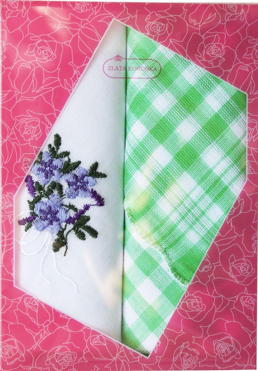 Платок носовой женский Zlata Korunka, цвет: белый, зеленый, 2 шт. 40222-25. Размер 29 см х 29 см40222-25Оригинальный женский носовой платок Zlata Korunka изготовлен из высококачественного натурального хлопка, благодаря чему приятен в использовании, хорошо стирается, не садится и отлично впитывает влагу. Практичный и изящный носовой платок будет незаменим в повседневной жизни любого современного человека. Такой платок послужит стильным аксессуаром и подчеркнет ваше превосходное чувство вкуса.