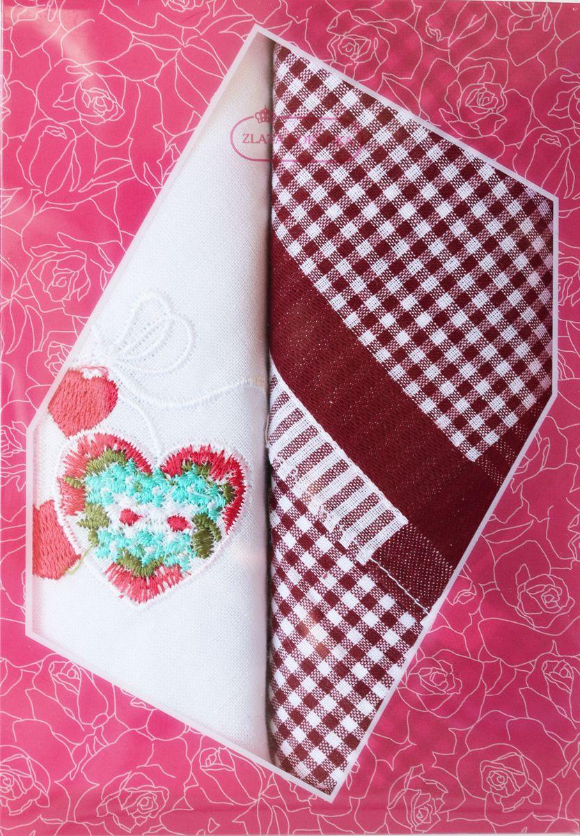 Платок носовой женский Zlata Korunka, цвет: мультиколор, 2 шт. 40222-8. Размер 29 см х 29 см40222-8