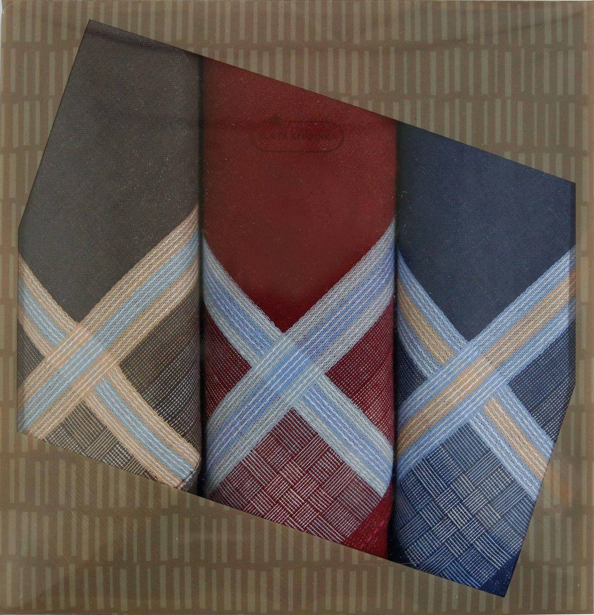 Платок носовой мужской Zlata Korunka, цвет: бордовый, синий, коричневый, 3 шт. 40315-1. Размер 43 см х 43 см40315-1Мужской носовой платой Zlata Korunka изготовлен из натурального хлопка, приятен в использовании, хорошо стирается, материал не садится и отлично впитывает влагу. Оформлена модель контрастным принтом.