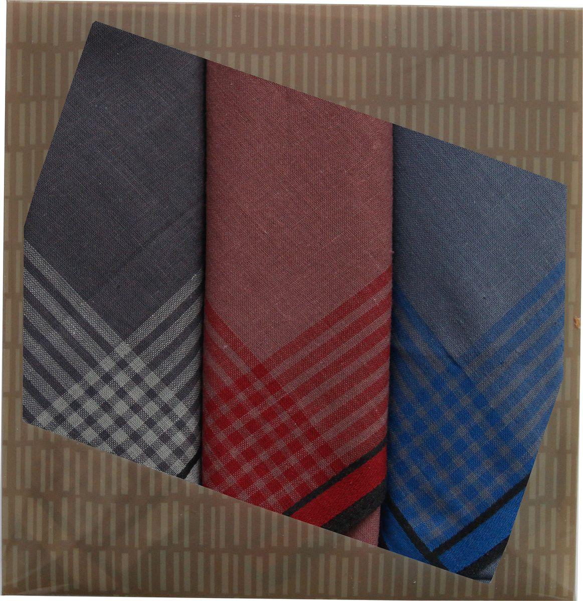 Платок носовой мужской Zlata Korunka, цвет: бордовый, 3 шт. 40315-3. Размер 43 см х 43 см40315-3