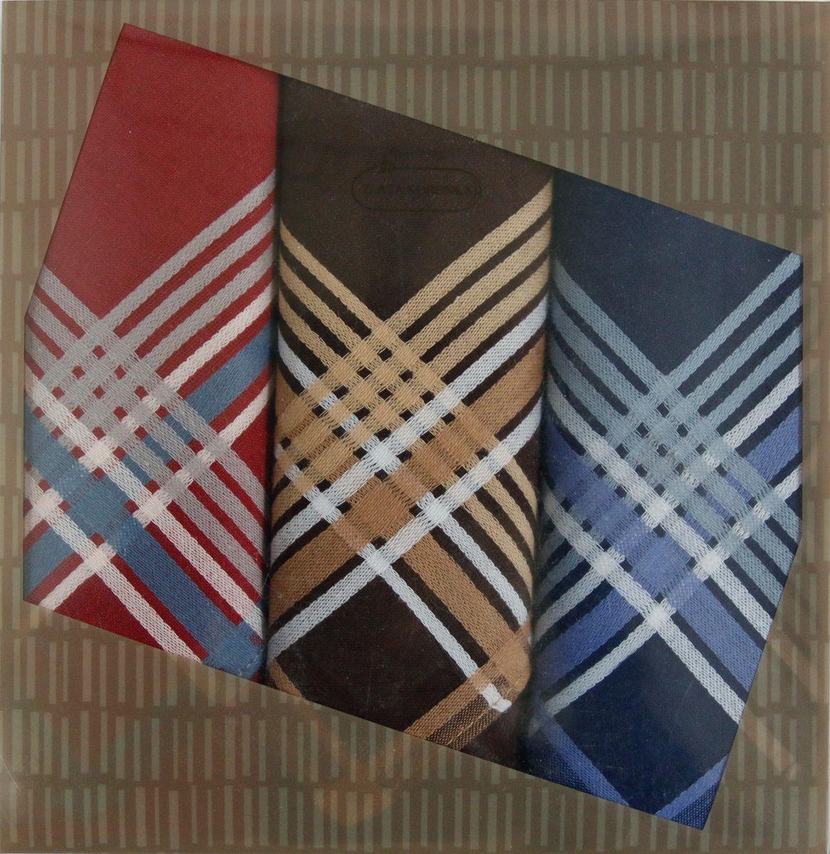 Платок носовой мужской Zlata Korunka, цвет: коричневый, 3 шт. 40315-5. Размер 43 см х 43 см40315-5