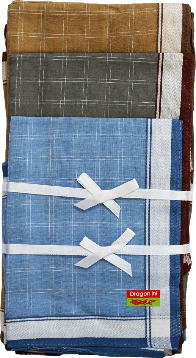 Платок носовой мужской Zlata Korunka, цвет: голубой, серый, коричневый, 6 шт. 45495-6. Размер 27 см х 27 см45495-6