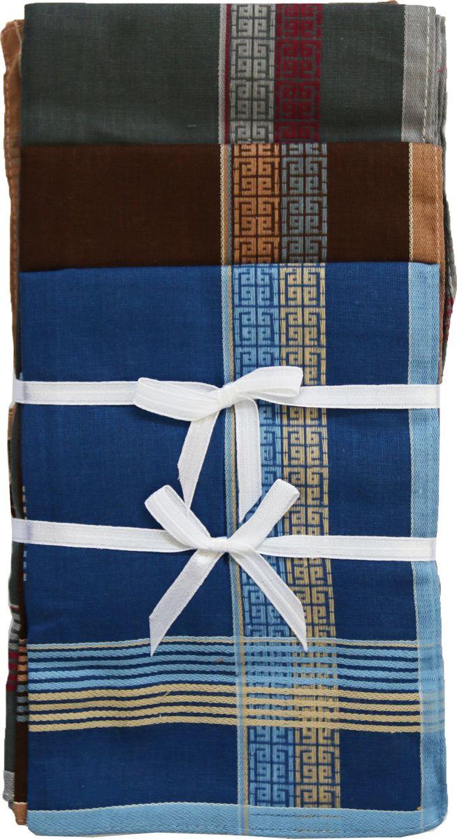 Платок носовой мужской Zlata Korunka, цвет: синий, коричневый, серый, 3 шт. 45560-3. Размер 27 см х 27 см45560-3Мужской носовой платой Zlata Korunka изготовлен из натурального хлопка, приятен в использовании, хорошо стирается, материал не садится и отлично впитывает влагу. Оформлена модель контрастным принтом.