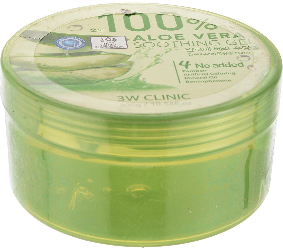 3W Clinic Гель универсальный Aloe Vera Soothing Gel 100%, 300 гр575356Многофункциональный успокаивающий гель с экстрактом алоэ 100% Гель наполняет кожу влагой, успокаивает её, снимает раздражения, избавляет от шелушений. Гель с алоэ обладает ранозаживляющим действием, благотворно влияет на кожу и оздоравливает ее на клеточном уровне. Гель с алоэ рекомендован для использования после агрессивного воздействия солнечных лучей на кожу, а также для уменьшения болевые ощущения после укусов насекомых. Алоэ создает на коже незаметный, но очень эффективный барьер, препятствующий проникновению болезнетворных бактерий и грибковых инфекций, а также помогает справиться с уже существующей угревой сыпью. Сок алоэ не закупоривает поры, регулирует работу сальных желез и придает коже здоровую матовость.