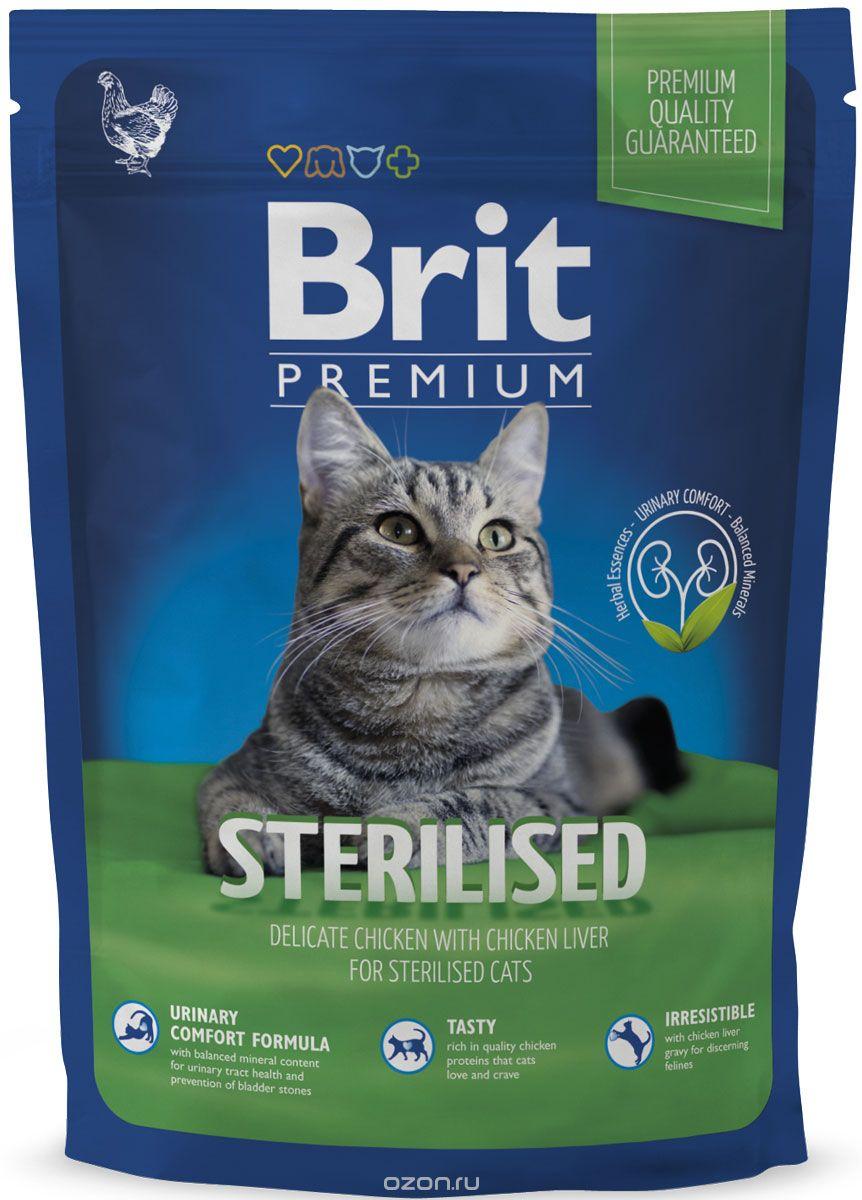 Корм сухой Brit Premium для стерилизованных кошек и кастрированных котов, 300 г8594031443926Сбалансированный полнорационный корм Brit Premium предназначен для стерилизованных кошек и кастрированных котов. Основные достоинства: - Не содержит пшеницы, что максимально снижает пищевую аллергию. - Содержит пребиотики MOS и FOS, способствуя повышению иммунитета и поддержанию здоровой микрофлоры кишечника. - Содержит органический селен и витамин Е - факторы замедляющие процессы старения. Состав: курица 32% (мука из куриного мяса 17%, сушеная курица 15 %), рис, гидролизованный куриный протеин 8%, куриный жир (консервирован токоферолами), кукуруза, сушеная свекольная пульпа, соус из куриной печени 4%, рыбий жир из лосося 1%, пивные дрожжи, сушеный одуванчик 0,25%, пребиотики, (маннанолигосахариды 140 мг/кг, фруктоолигосахариды 110 мг/кг), экстракт юкки(75 мг/кг), экстракт фруктов и трав (розмарин, гвоздика, цитрус, куркума, 55 мг/кг). Гарантированный анализ: сырой белок 34,0%, сырой жир 12,0%, сырая клетчатка 3,5%,...